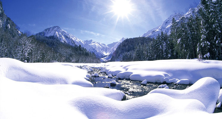 Winter Berge Bach